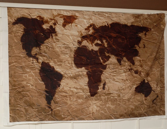 World map tapestry rustic fabric art print wall hanging like this item gumiabroncs Choice Image