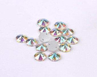 Octagon Sew On Flatback Rhinestones,  Sew On Rhinestone,Sew On Crystal, Faceted Sew-on,DIY Supply