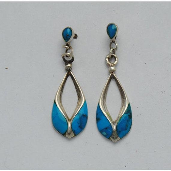 Boucles d'oreilles pendantes en turquoise et argent