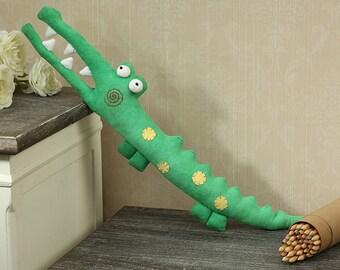 Crocodile Toy PDF Pattern Download Baby Toys Cute Crocodile Pattern Tutorial Sewing Pattern, Animal Plush Stuffed, sewing instruction