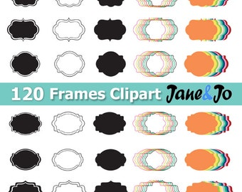 120 Frame Clipart , Digital Frames Clip Art ,Frame Clip Art digital images,colorful Frame label frames clipart scrapbook labels Labels Tags