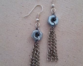 Silver colored hex nut silver chain tassel earrings