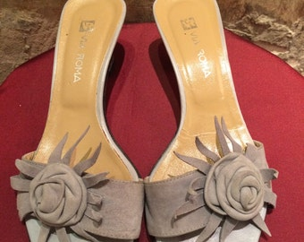Via Roma blu-gray leather sandals. Size eu 36, us 5.5, uk 3.5.