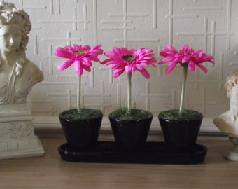 Quality realistic silk gerbera flowers arranged in black ceramic pots on matching tray
