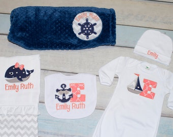 Nautical Baby Set 5 Piece Personalized Grey Navy Coral