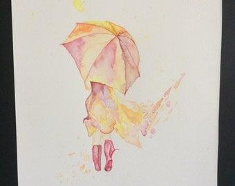 Original Watercolour Umbrella Girl Wall Art
