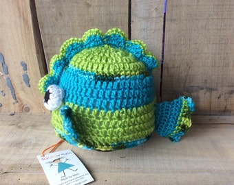 Tropical fish baby hat, perfect for boy,  in turquoise and bright green,  great photo prop, crocheted hat for baby boy or baby girl.