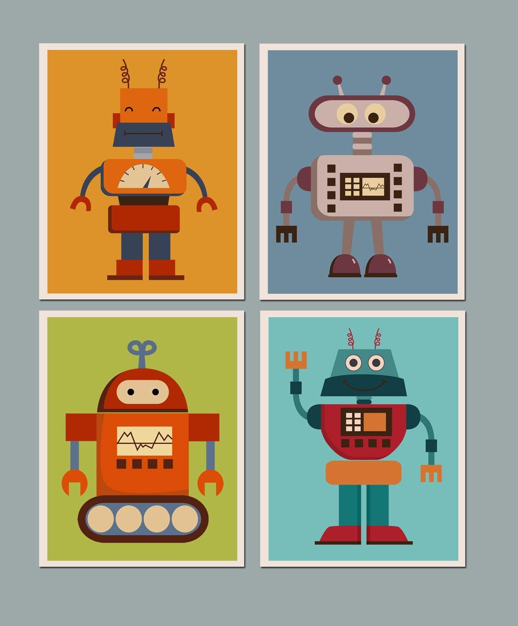 Blackboard Wall Stickers Robots Printable Art Inspirational Prints Kids Wall By