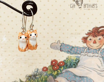 Orange Cat Earrings, Dangle & Drop Earrings, polymer clay, hand sculpted, hand painted with Acrylic colors.