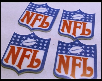 4 PC Sports Professional Football Cup Cake Toppers Brand Inspired Resin Flat backs  247400