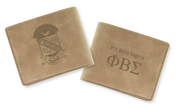 Phi Beta Sigma Engraved Wallet (light tan)