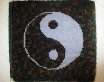 Yin yang handmade mini rug, pictorial mini rug, hand knotted