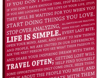"This is Your Life Motivational Poster, 14"" x 20"" x 0.75"" Canvas Gallery Wrap (Burgundy)"