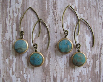Medium Length, Arizona Turquoise Coin Bead (12 mm) Dangle Antique Gold Small Angled Ear Wire Earrings