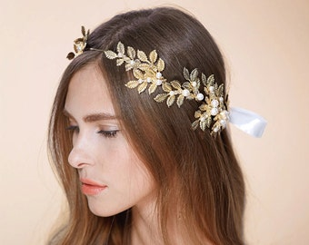 Handwire Wedding Headband,Golden Olive branch Freshwater Pearl Rhinestone Wreath Leaves headpiece, Boho head pieces , Floral Tiara NL003