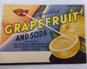 4 x Vintage Grapefruit and Soda Drink Labels