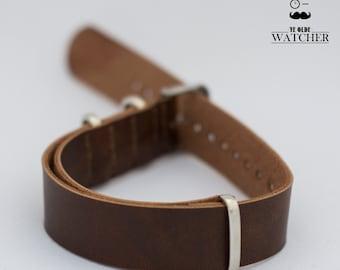Elegant dark brown 18mm NATO PU leather strap