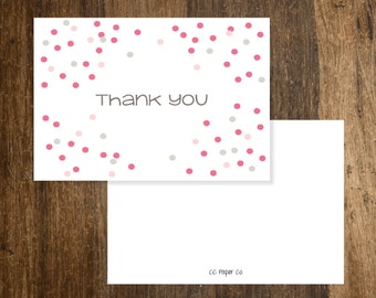 Folded Thank You (A2) - Pink and Warm Gray Confetti