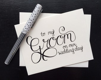 On My Wedding Day Cards {for the bride}{set of three} - folded, hand lettered notecard with envelope