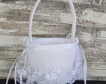 Wedding Flower Girl Basket - White / Ivory Wedding Basket,Wedding Flower Girl Basket