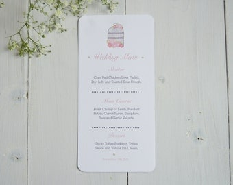 Vintage Birdcage Wedding Menu