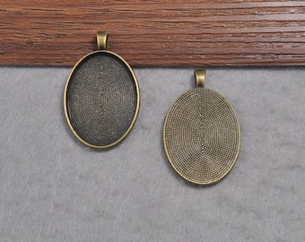 Tray Pendant--Oval Photo Frame For 22X30mm Cabochon Settings Necklace Pendant
