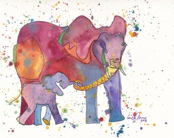 PRINTS Elephant Mommy with Baby