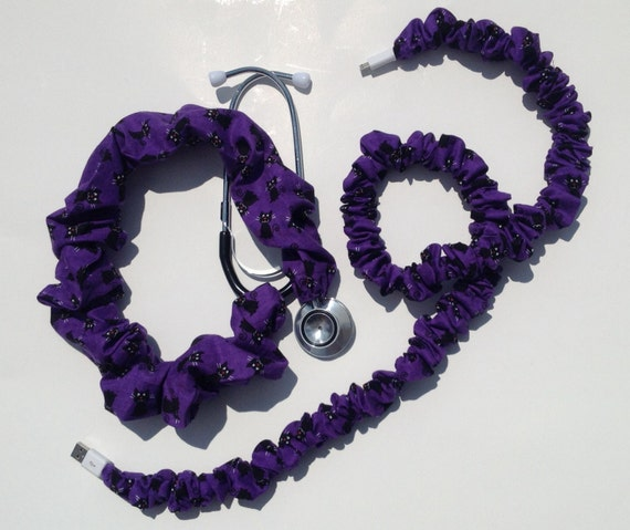 items similar to stethoscope cover cell phone cord cover purple with black cats handmade. Black Bedroom Furniture Sets. Home Design Ideas