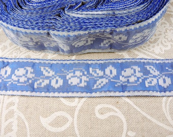 Blue and white vintage woven ribbon