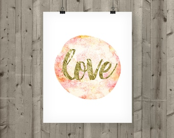 Pink Love Printable /  Pink Love Print / Wall Decor / Gold Love Wall Art Printable / Pink Printable / Watercolor / Valentines Day Decor