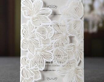 Laser Cut 'Floral Lace' Invitation Design SAMPLE