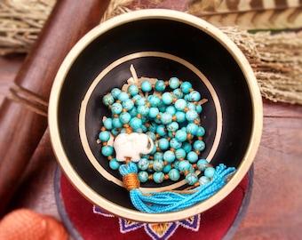 Throat Chakra Mala Beads; 108 Hand Knotted Turquoise Mala Beads , 108 Mala Beads, Mala Necklace, Prayer Beads, Meditation Beads