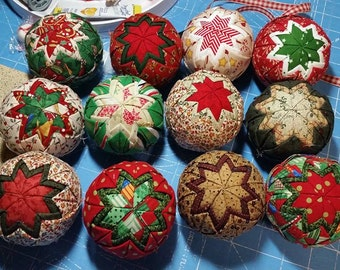 Set of 12 Quilted Fabric Ornaments
