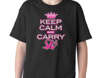 Kid's Keep Calm and Carry on Breast Cancer Awareness Shirt Printed Youth T-Shirt #1122 Trending Clothing / Apparel USA Seller