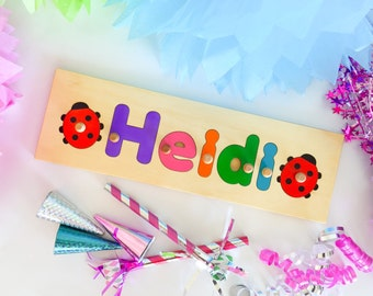 5 Letter Wooden Personalized Name Puzzle shape each side | add personalized engraved message on back for a keepsake gift.
