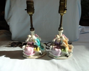 Pair Of Vintage Porcelain Victorian Couple Lamps From Germany