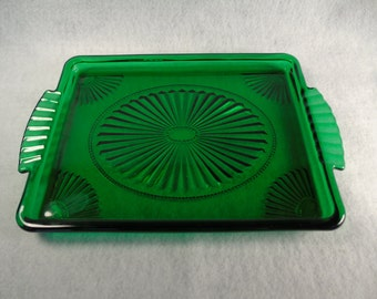 Vintage decanter green glass tray