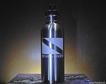SCUBA DIVER Dive Flag Etched Brushed Stainless Steel Bottle