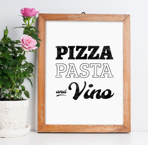 wall decor pizza pasta and vino printable poster by artcostore. Black Bedroom Furniture Sets. Home Design Ideas
