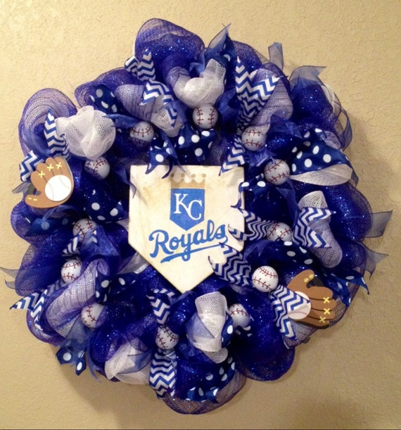 Front Doors Kansas City: Kansas City Royals Blue And White Baseball Wreath With Home
