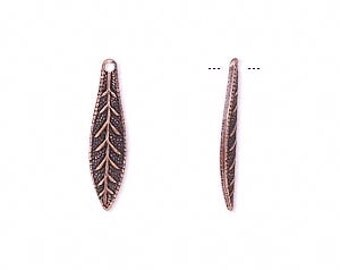 Copper Leaf Charm, antiqued copper Charm, Copper Leaf, Tribal, 19x5mm, 14 ea, D634