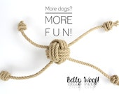 MEDIUM Dog Toy for multiple Dogs! Tug of War - Fetch - made of Hemp Rope - up to four dogs