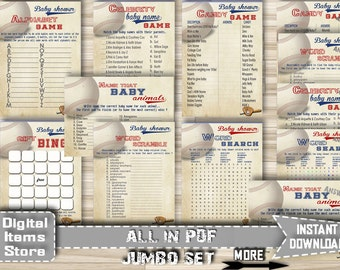 Baby Shower Baseball Games, All Star Package Set, Kit, Vintage - Baseball Baby Shower Package Printable - Instant Download - bb2