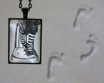 necklace...iWantedTheCookiiiie..., hand drawn, cabochon, black