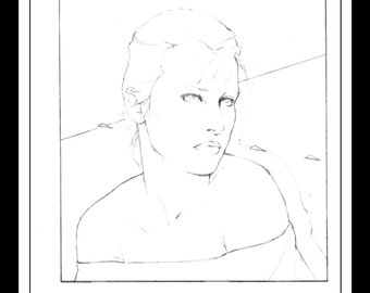 "Patrick Nagel Vintage Pinup Illustration Sexy Nude Pinup Mature Wall Art Deco Sketch Book Print 9"" x 12"""