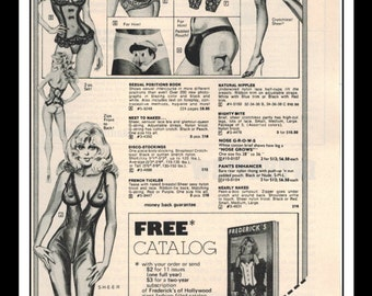 """Frederick's Of Hollywood Lingerie Illustration Vintage Pinup 1970's Pinup Mature Wall Art Deco Print 5"""" x 11"""""""