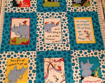 Dr. Seuss Horton Hears a Who Fabric Quilt/Throw/Comforter/Blanket for Baby/Child/Toddler/Lap