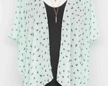 SALE 25% OFF Mint Black Bird Kimono