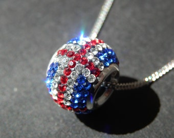 Sterling Silver Union Jack Crystal Bead