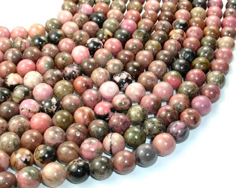 Rhodonite Beads, Round, 10mm (10.5 mm), 15.5 Inch, Full strand, Approx 39 beads, Hole 1 mm (386054007)